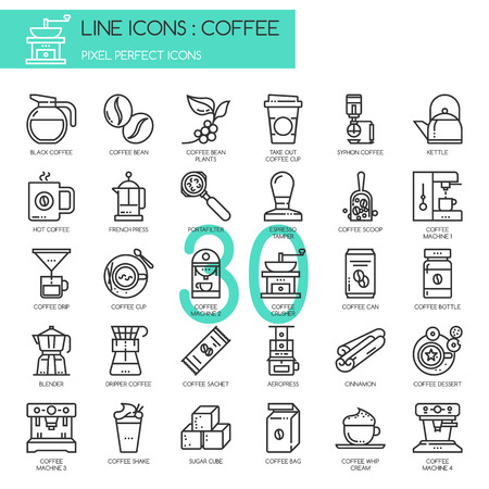 sugar cube: Coffee , thin line icons set ,pixel perfect icon Illustration