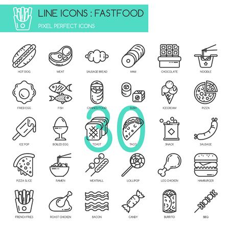 fastfood: Thức ăn nhanh, dòng mỏng các biểu tượng tập hợp, điểm ảnh biểu tượng hoàn hảo Hình minh hoạ