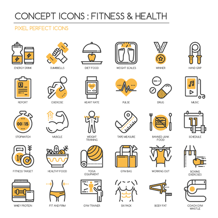 Fitness & Gesundheit, dünne Linie Icons Set, pixelgenaue Symbol