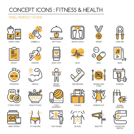 Fitness & Health, dunne lijn pictogrammen instellen, pixel perfect icoon