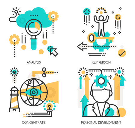 personal development: Flat line design vector illustration concepts of Analysis, Key person , Concentrate, Personal Development Illustration