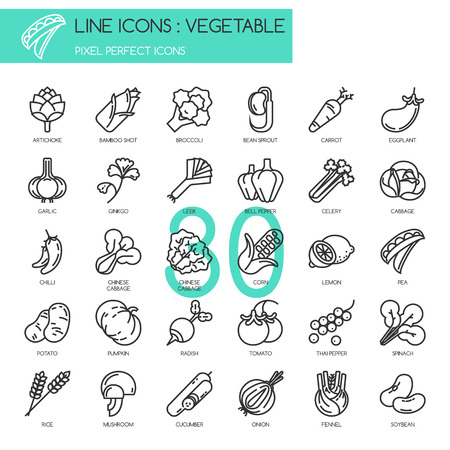 Vegetable , thin line icons set ,pixel perfect icon Illusztráció