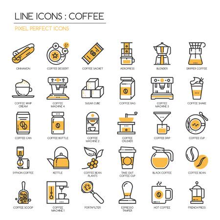 Koffie, dunne lijn pictogrammen set, pixel perfect icoon