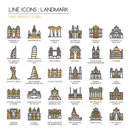saint pauls cathedral: Landmark, thin line icons set ,pixel perfect icon