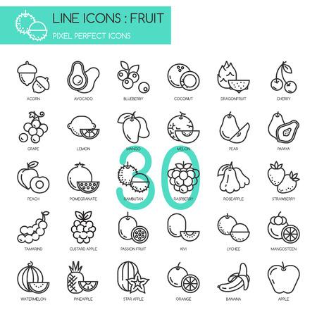 Fruit, mince ligne icônes ensemble, pixel icône parfaite