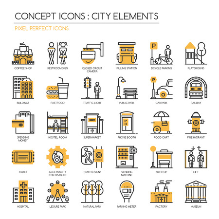 City Elements , thin line icons set , Pixel Perfect Icons Vettoriali