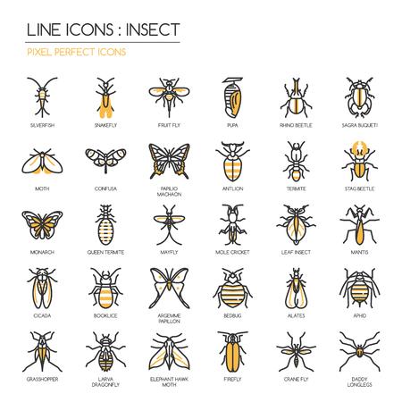 Insekt, dünne Linie Icons Set, pixelgenaue Symbol