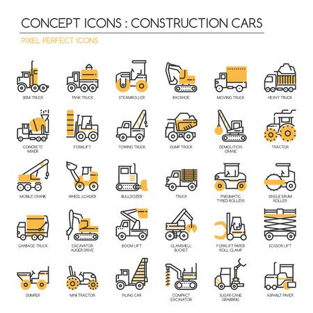 montacargas: Coches de construcción, iconos de líneas finas, establecen Pixel Perfect Iconos Vectores