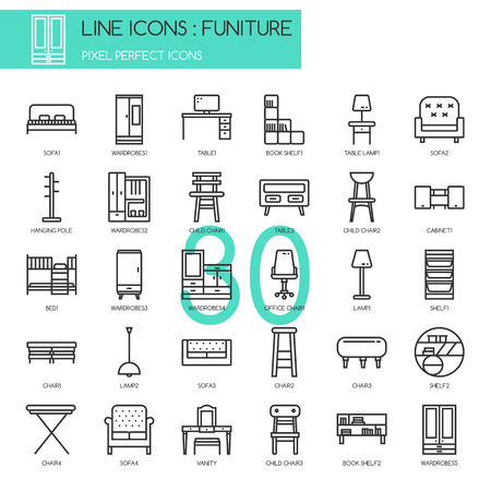 pixel perfect: Funiture , thin line icons set , Pixel Perfect Icons Illustration