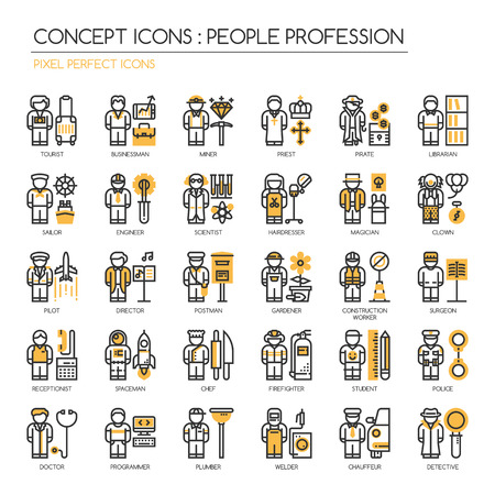 chauffeur: People Profession , thin line icons set , Pixel Perfect Icons Illustration