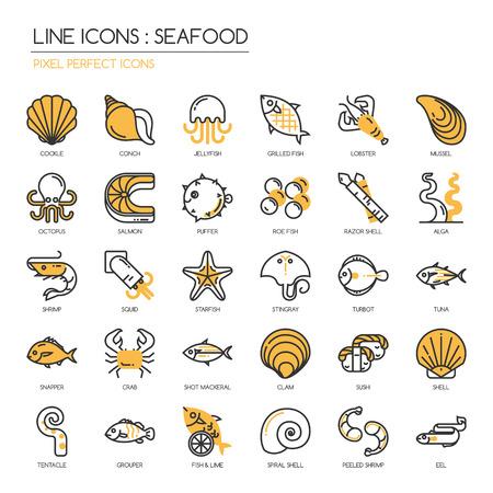 해산물, 얇은 라인 세트, 완벽한 픽셀 아이콘 아이콘