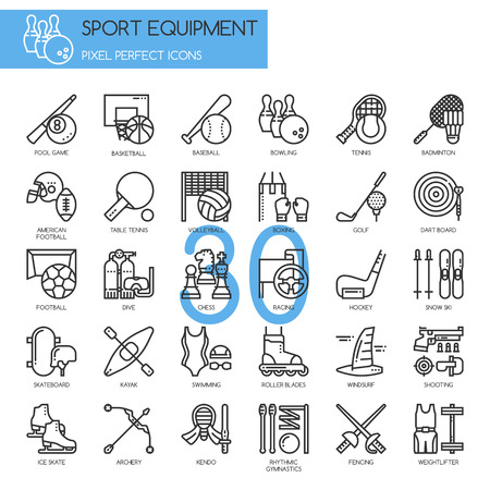skate board: Sport Equipment , thin line icons set ,pixel perfect icon Illustration