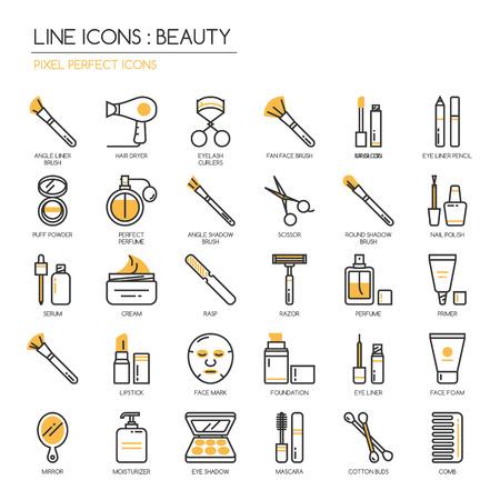 schönheit: Schönheit, dünne Linie Icons Set, pixelgenaue Symbol Illustration