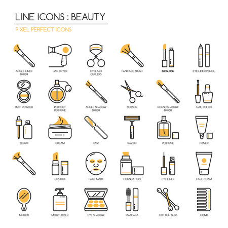 Schoonheid, dunne lijn pictogrammen instellen, pixel perfect icoon