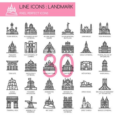 mausoleum: Landmark , thin line icons set ,pixel perfect icon