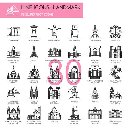 athenaeum: Landmark , thin line icons set ,pixel perfect icon