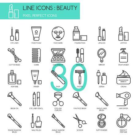 Schönheit, dünne Linie Icons Set, pixelgenaue Symbol