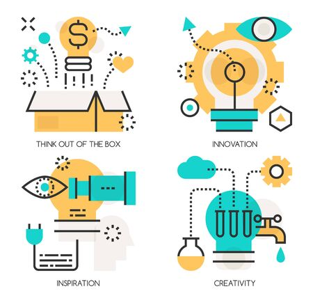 think out of the box: Flat line design vector illustration concepts of Think out of the box , Innovation ,Inspiration , Creativity Illustration