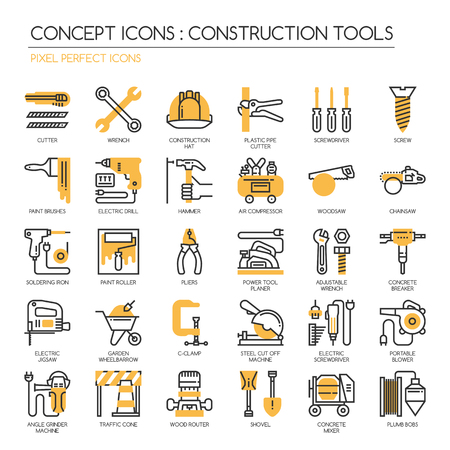 Construction Tools , thin line icons set , Pixel Perfect Icons
