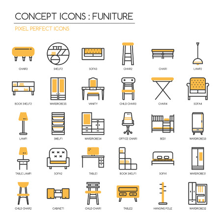 vanity table: Funiture , thin line icons set , Pixel Perfect Icons Illustration