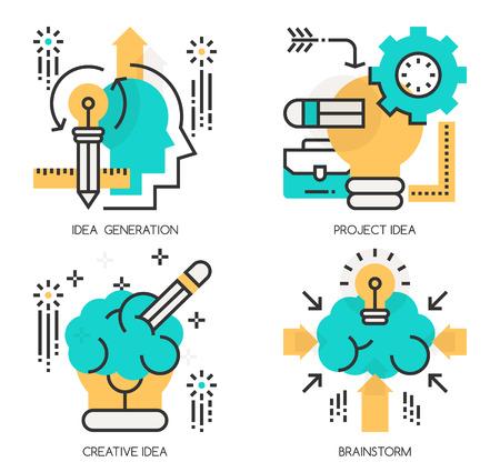 idea generation: Flat line design vector illustration concepts of Idea Generation , Project Idea , Creative Idea , Brainstorm