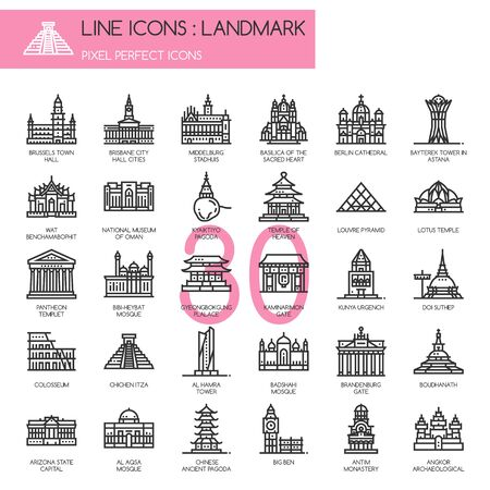 heavens gates: Landmark , thin line icons set ,pixel perfect icon