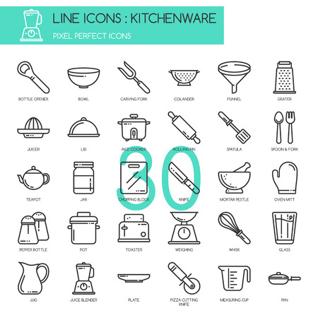 colander: Kitchenware , thin line icons set ,pixel perfect icon