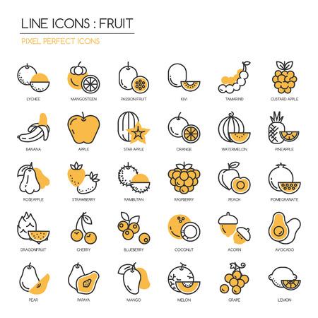 tamarindo: Fruta, línea delgada fijadas iconos, icono de píxel perfecta
