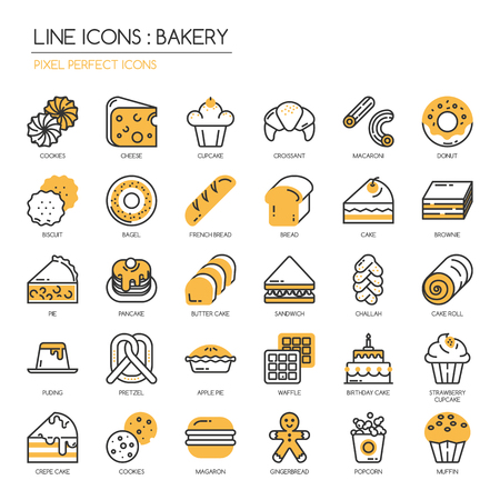 pixel perfect: Bakery, thin line icons set , Pixel perfect icons
