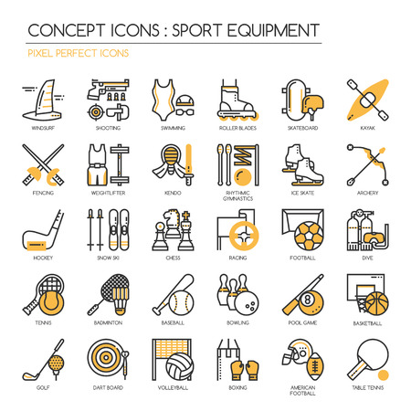 american table: Sport Equipment , thin line icons set ,pixel perfect icon Illustration
