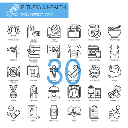 Fitness & Health , thin line icons set ,pixel perfect icon Vectores