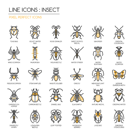 carrion: Insect , thin line icons set ,pixel perfect icon