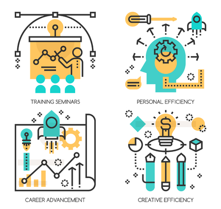 advancement: Flat line design vector illustration concepts of Training Seminars, Personal efficiency , Career Advancement, Creative Efficiency