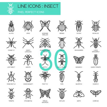Insecte, icônes de ligne mince ensemble, pixel icône parfaite