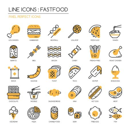 fried noodles: Fastfood, thin line icons set ,pixel perfect icon
