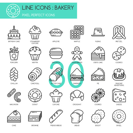 pixel perfect: Bakery , thin line icons set, Pixel perfect icons Illustration