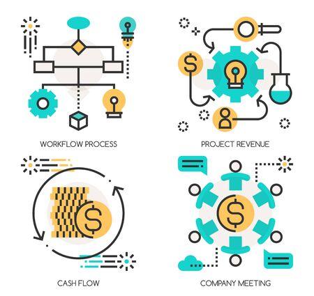 Vlakke lijn ontwerp vector illustratie concepten Workflow Process, Project Revenue, Cash Flow, Company Meeting