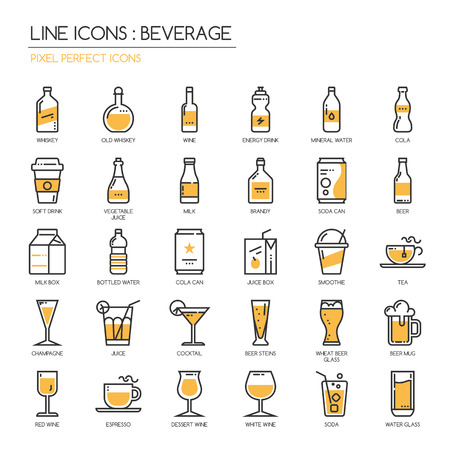 Drank, dunne lijn pictogrammen set, pixel perfect icoon