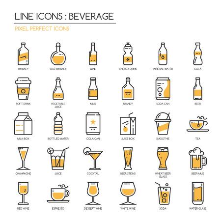 Boissons, mince ligne icônes ensemble, pixel icône parfaite Vecteurs
