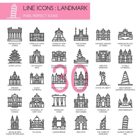 marina bay sand: Landmark, thin line icons set ,pixel perfect icon