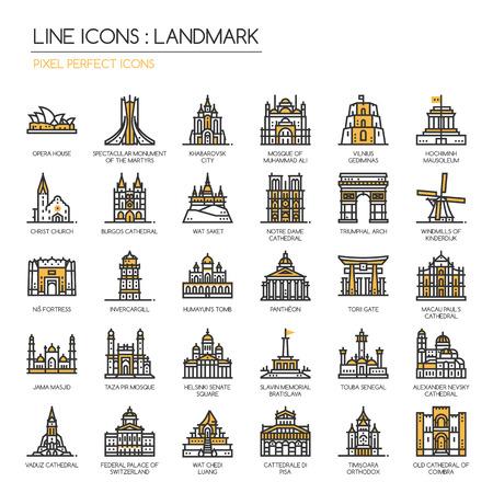 Lugar de interés, iconos de líneas finas conjunto, icono perfecto de píxeles