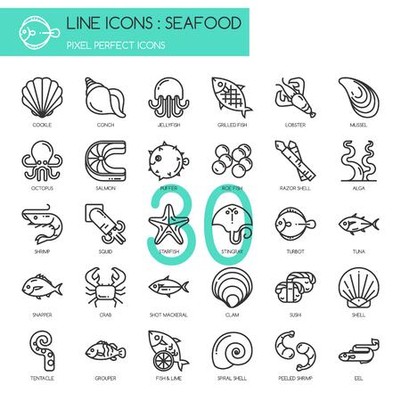 almeja: Mariscos, delgada línea fijadas iconos, icono de píxel perfecta