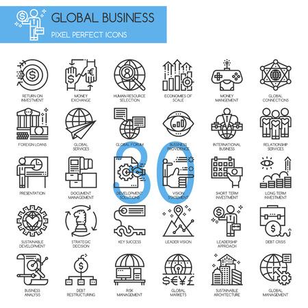 Negocio global, iconos de líneas finas establecidos, Pixel Perfect Iconos