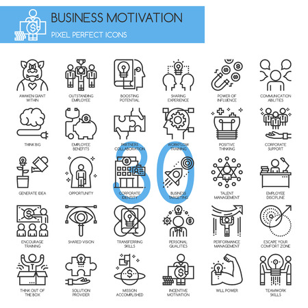 shared sharing: Business motivation, thin line icons set , Pixel Perfect Icons Illustration
