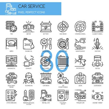 Serwis samochodowy, cienkie linie ikony ustaw, Pixel Idealne Ikony