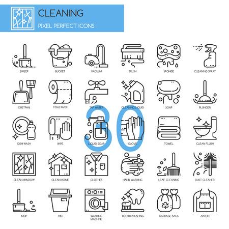 Nettoyage, icônes de lignes minces définir, Pixel Icons Parfait