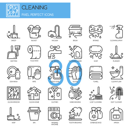 Cleaning , thin line icons set , Pixel Perfect Icons