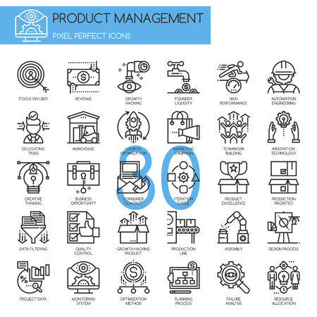 pixel perfect: Product management , thin line icons set , Pixel Perfect Icons