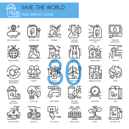 pixel perfect: Save the world , thin line icons set , Pixel Perfect Icons Illustration