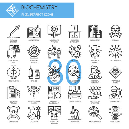 reaction: Biochemistry Icons, thin line icons set , Pixel Perfect Icons
